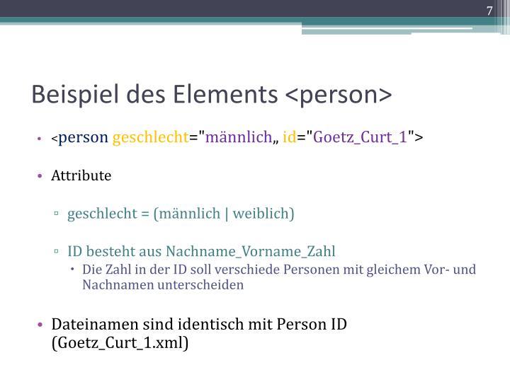 Beispiel des Elements <person>