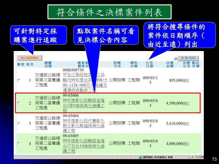 符合條件之決標案件列表
