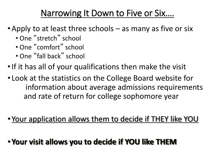 Narrowing It Down to Five or Six….
