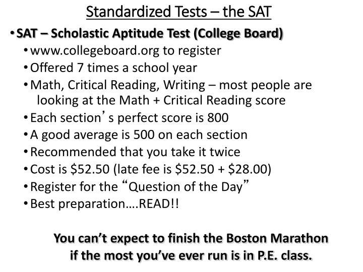 Standardized Tests – the SAT