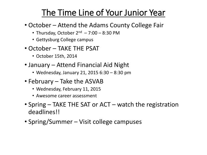 The Time Line of Your Junior Year