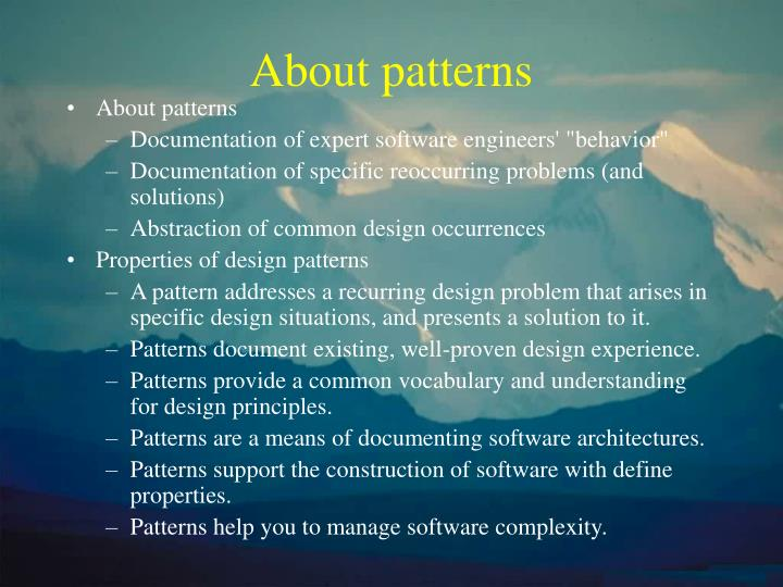 About patterns