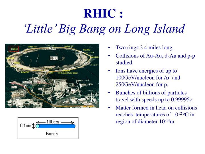 Rhic little big bang on long island