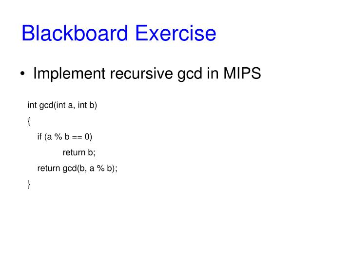 Blackboard Exercise