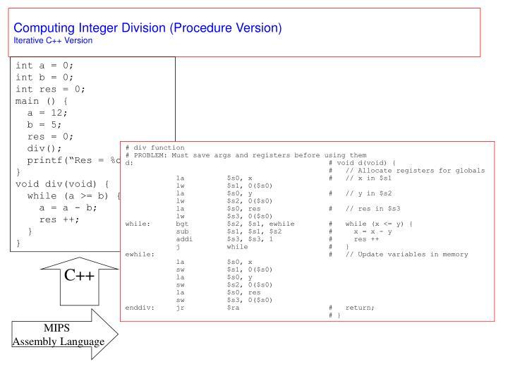 Computing Integer Division (Procedure Version)