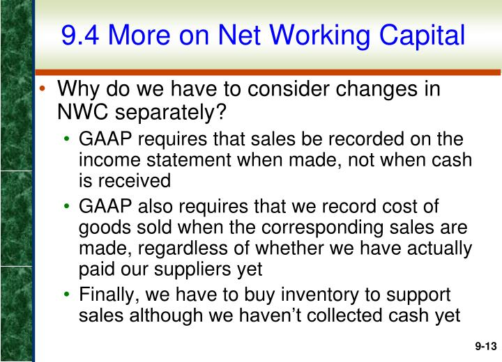 9.4 More on Net Working Capital