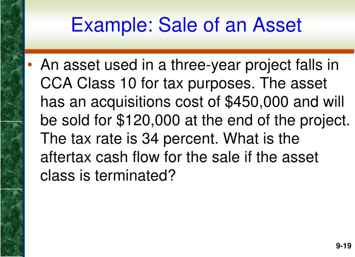 Example: Sale of an Asset