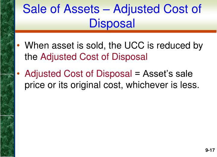 Sale of Assets – Adjusted Cost of Disposal