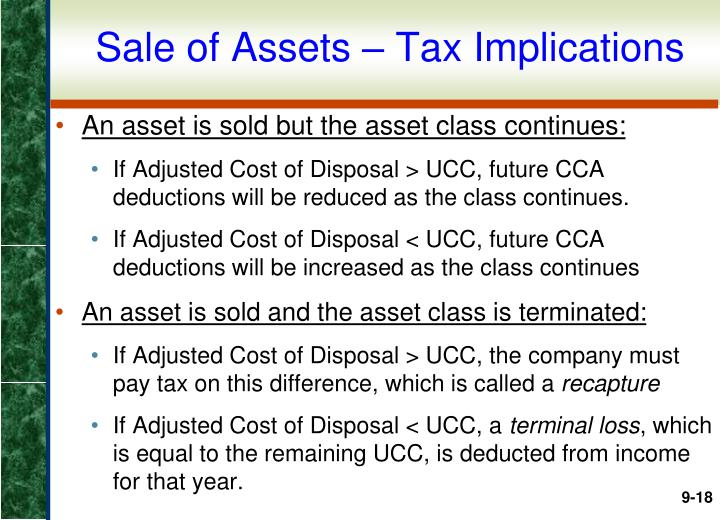 Sale of Assets – Tax Implications