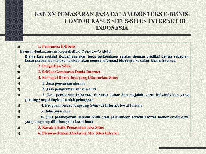 BAB XV PEMASARAN JASA DALAM KONTEKS E-BISNIS: