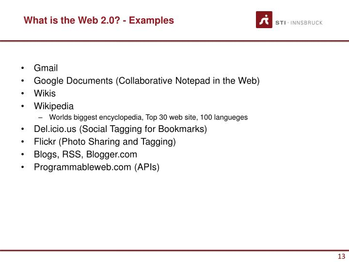 What is the Web 2.0? - Examples