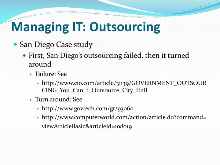 outsourcing case study failure