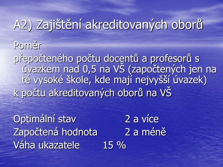 A2) Zajištění akreditovaných oborů