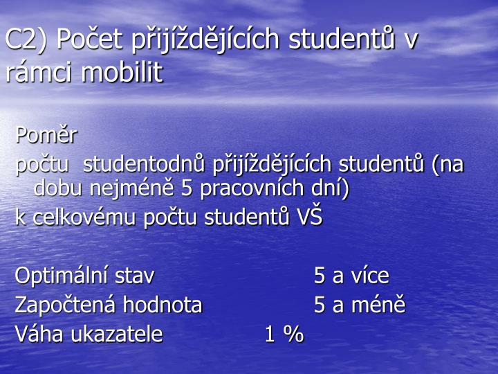 C2) Počet přijíždějících studentů v rámci mobilit