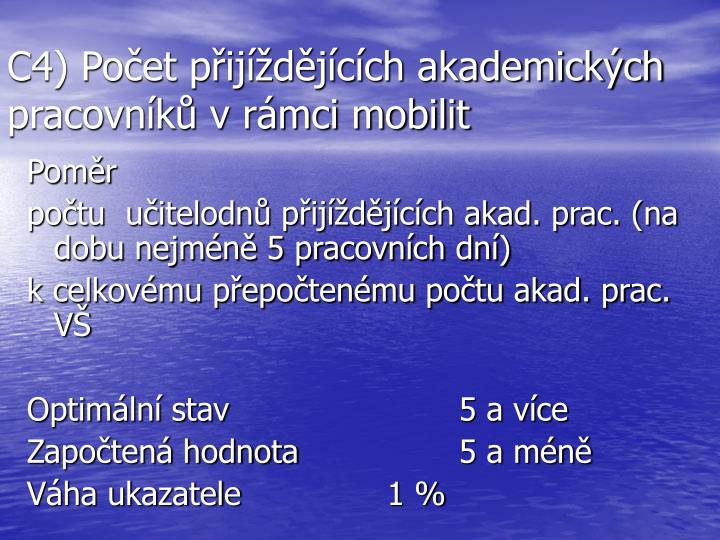 C4) Počet přijíždějících akademických pracovníků v rámci mobilit