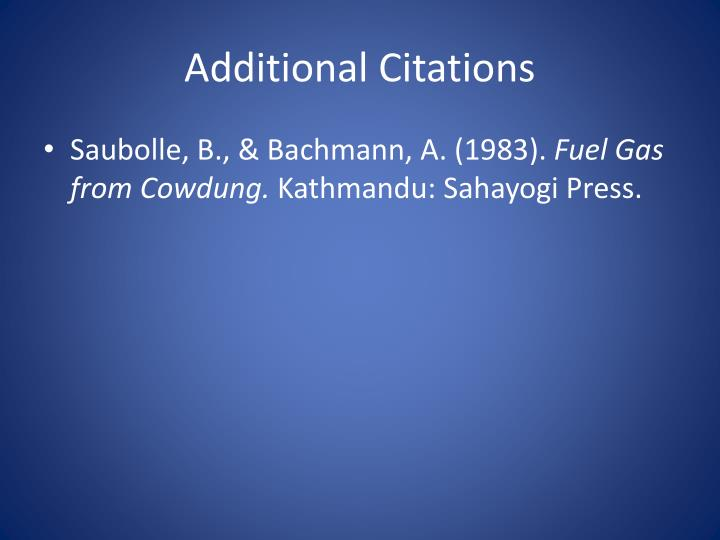 Additional Citations