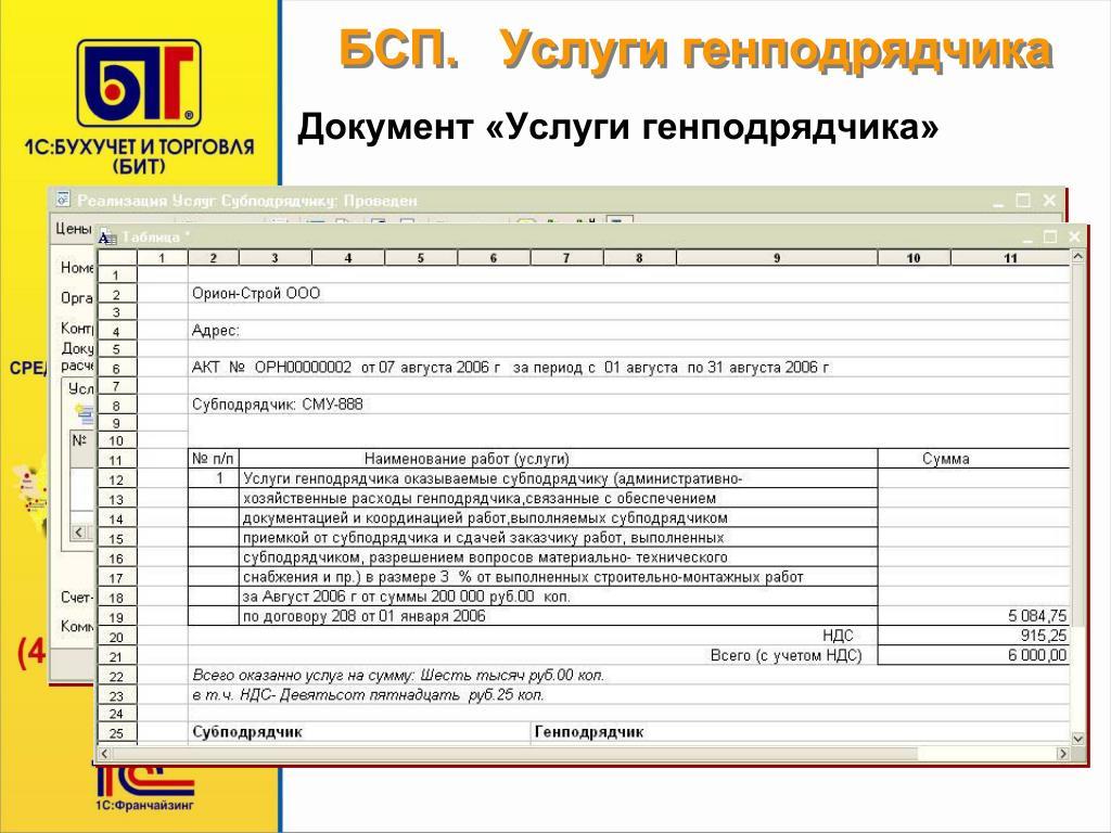Услуги генподряда в налоговом учете расшифровать ооо организации