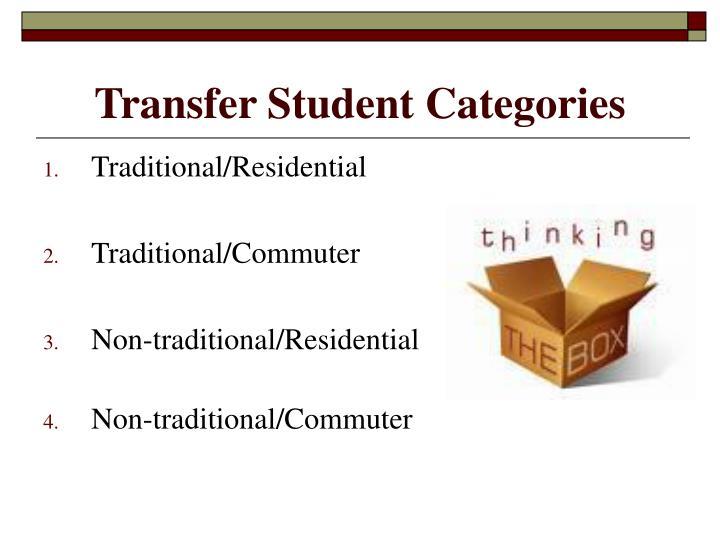 Transfer Student Categories