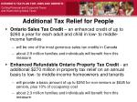 additional tax relief for people