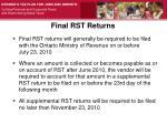 final rst returns