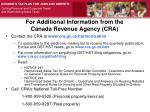for additional information from the canada revenue agency cra