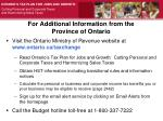for additional information from the province of ontario