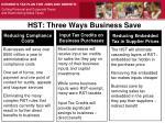 hst three ways business save