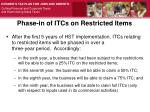 phase in of itcs on restricted items