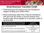 small business transition credit