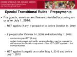 special transitional rules prepayments