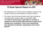 td bank special report on hst