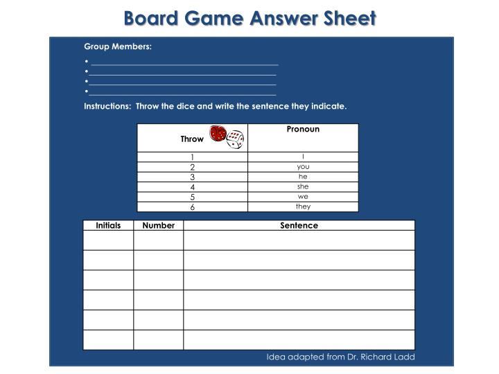 Board Game Answer Sheet