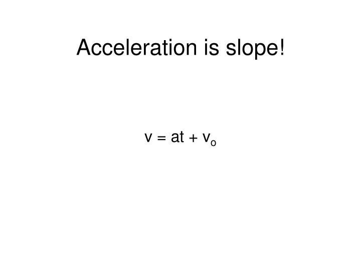 Acceleration is slope!