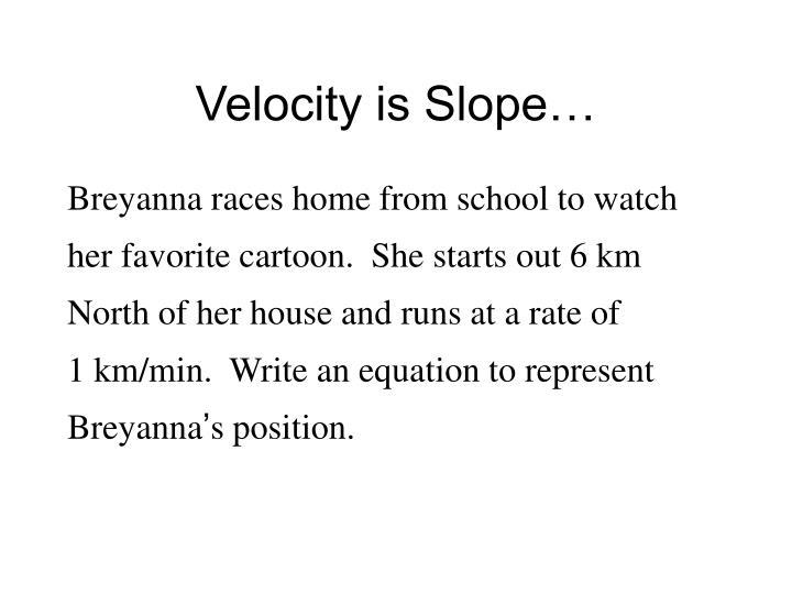 Velocity is Slope…