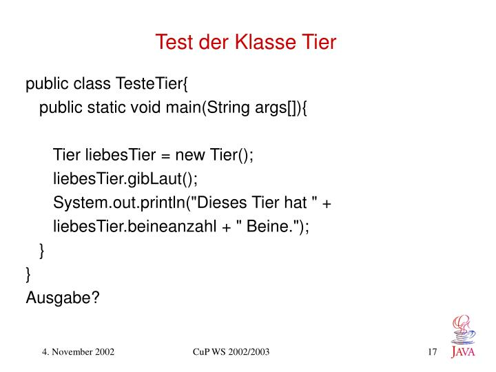 Test der Klasse Tier