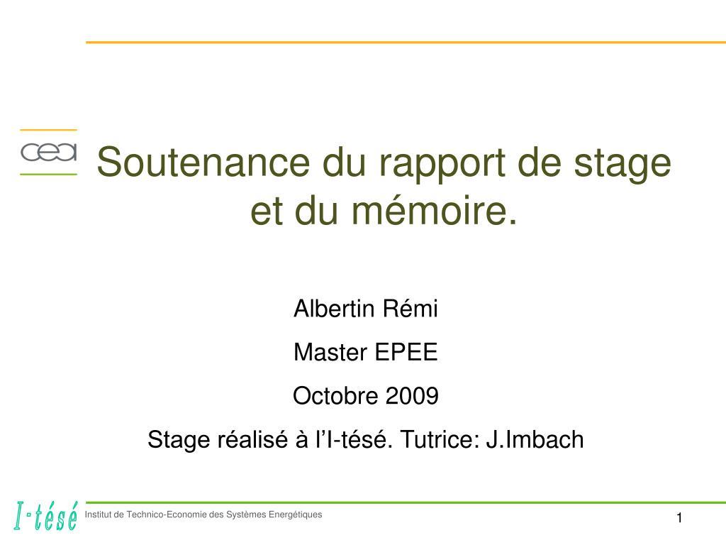 Ppt Soutenance Du Rapport De Stage Et Du Mémoire