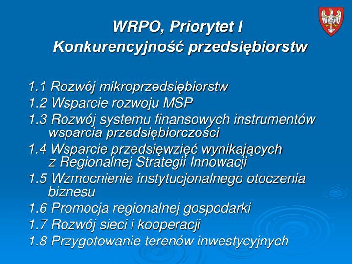 WRPO, Priorytet I