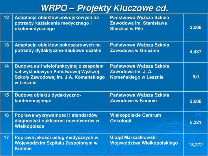 WRPO – Projekty Kluczowe cd.