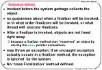 notes about finalize