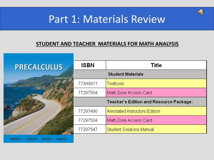 Part 1: Materials Review
