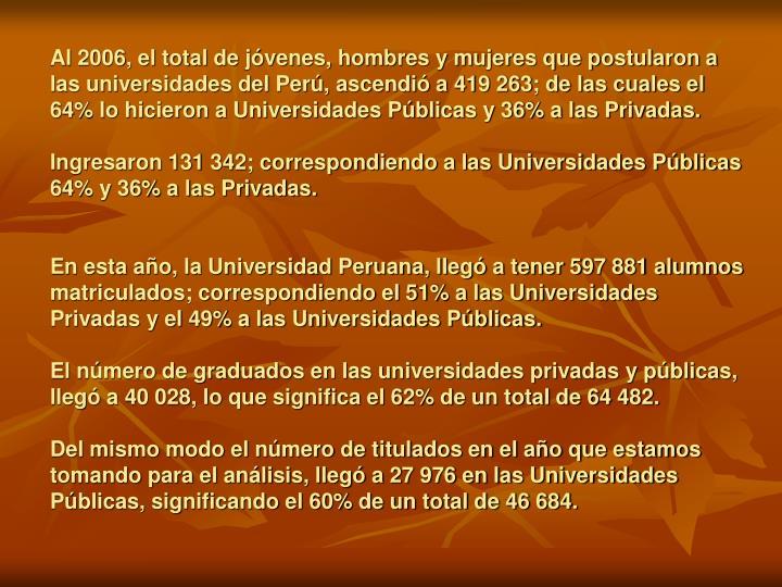 Al 2006, el total de jóvenes, hombres y mujeres que postularon a las universidades del Perú, ascendió a 419 263; de las cuales el 64% lo hicieron a Universidades Públicas y 36% a las Privadas.
