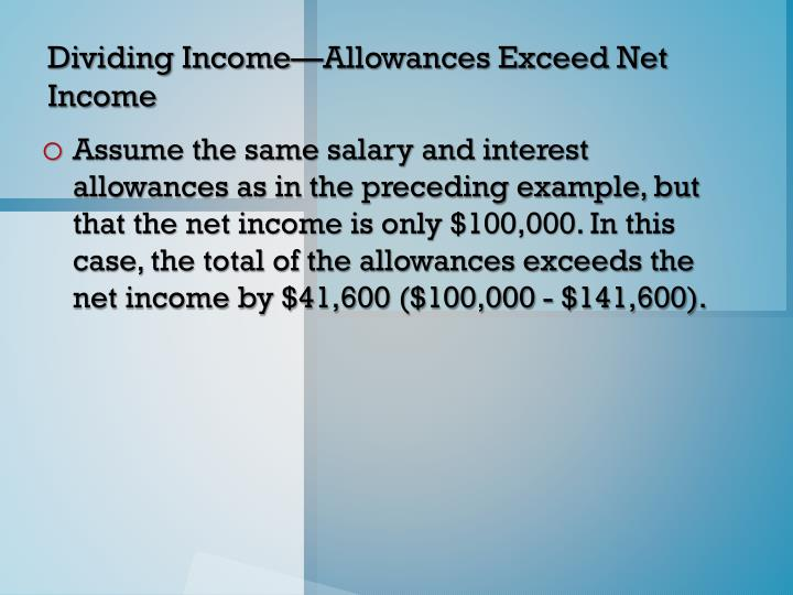 Dividing Income—Allowances Exceed Net Income