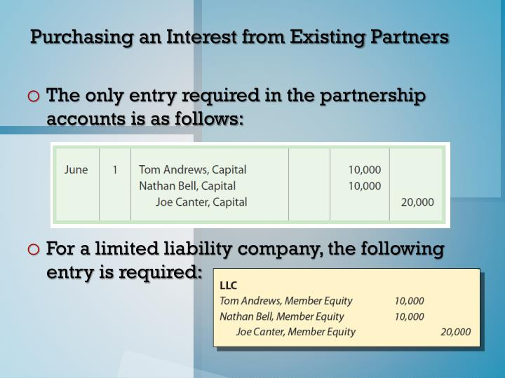 Purchasing an Interest from Existing Partners