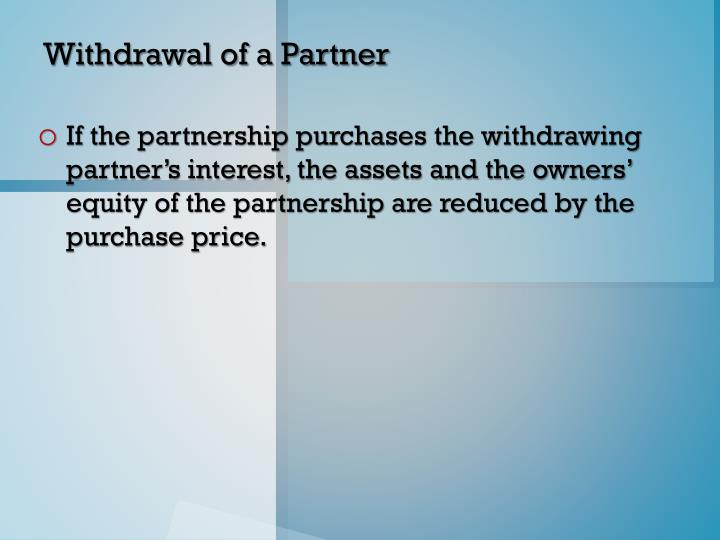 Withdrawal of a Partner