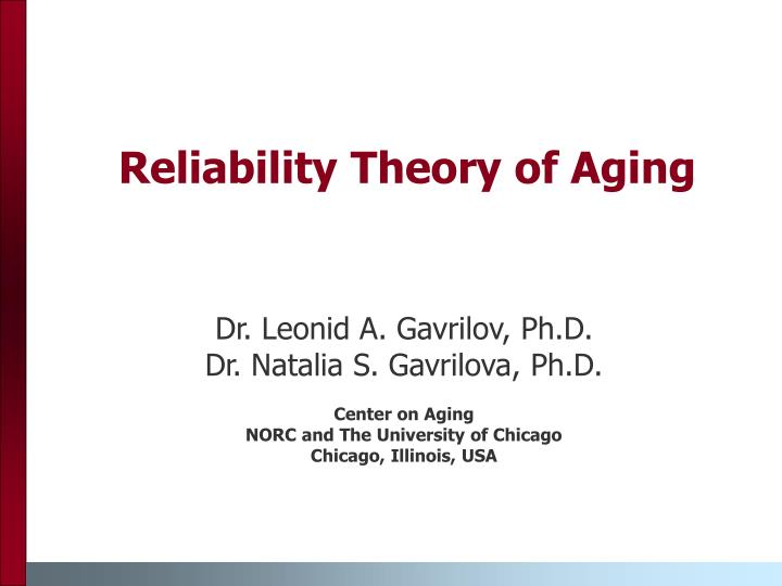 reliability theory of aging n.