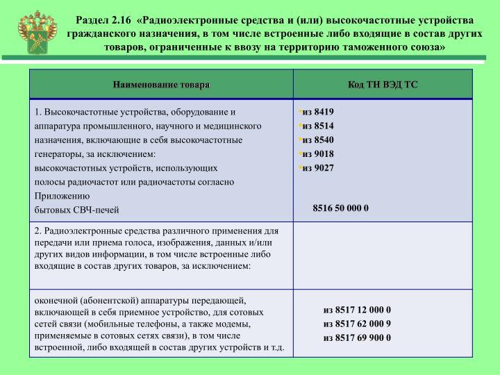 Раздел 2.16  «Радиоэлектронные средства и (или) высокочастотные устройства гражданского назначения, в том числе встроенные либо входящие в состав других товаров, ограниченные к ввозу на территорию таможенного союза»