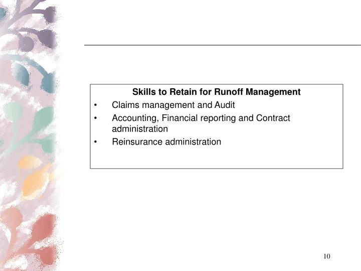 Skills to Retain for Runoff Management