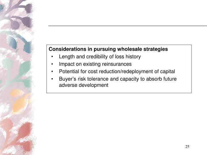 Considerations in pursuing wholesale strategies