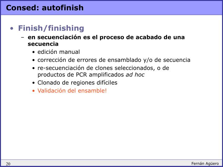 Consed: autofinish