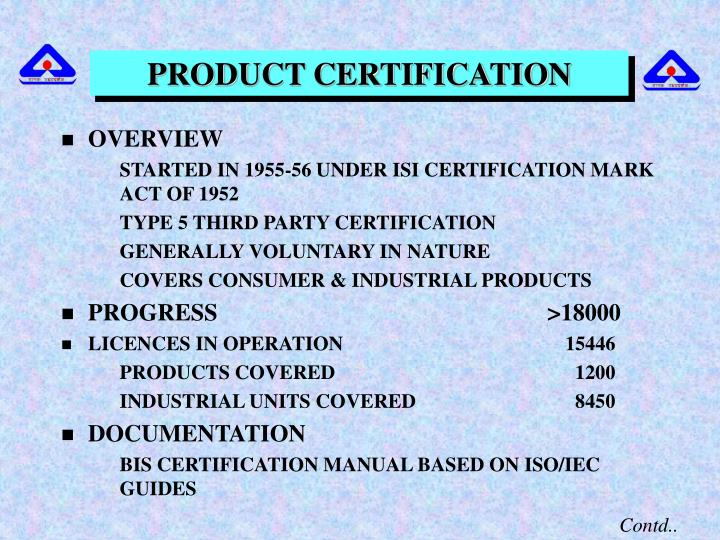 PRODUCT CERTIFICATION